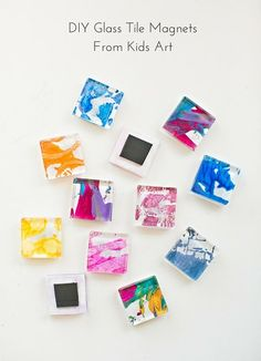 These easy DIY Glass Tile Magnets are a pretty way to show off or recycle your kids' art!