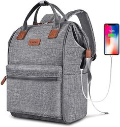 BRINCH Laptop Backpack 15.6 Inch Wide Open Computer Backpack Laptop Bag College Rucksack Water Resistant Business Travel Backpack Multipurpose Casual Daypack with USB Charging Port for Women Men,Gray #afflink Luggage Reviews, Backpack Reviews, Laptop Bag For Women, Travel Bags For Women, Laptop Bags, Computer Backpack, Computer Bags, Backpack Purse, Travel Backpack