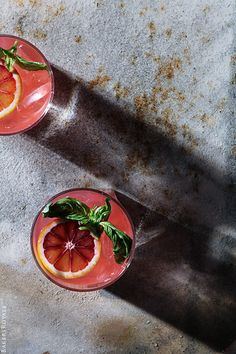 French Kiss Margarita: blood orange juice, lime juice, Anejo tequila, sweet vermouth, basil leaves | Bakers Royale