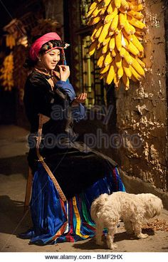 Smiling Jiarong Tibetan young woman in Gyarong Beauty Valley, Danba, Garze Tibetan Autonomous Prefecture, Sichuan, - Stock Image