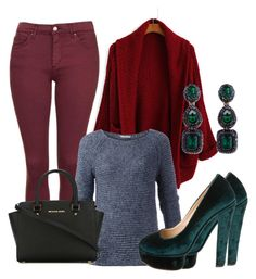 """""""green and marsala"""" by natalia-souza-ramos on Polyvore featuring Topshop, Tommy Hilfiger, Charlotte Olympia, MICHAEL Michael Kors and Oscar de la Renta"""