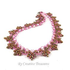 Pink Willow Beadwoven Necklace with Pink Fire Polish Crystals and Super Duo Beads
