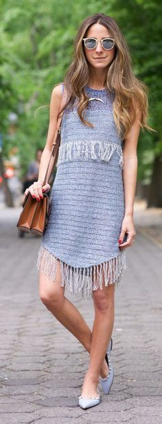 Blue Fringe Dress Styling by Something Navy