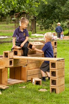 Interlocking Outlast blocks encourage imaginative play, cooperation, and child-directed discovery.