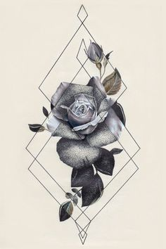Tattoo inspiration flower geometric triangle black and white #beautytatoos
