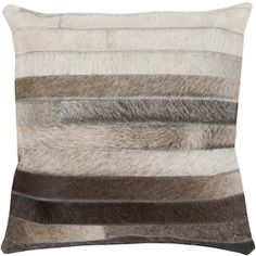 Stripes of rich textural leather make up this one-of-a-kind, hand crafted Trail pillow by Surya (TR-002).