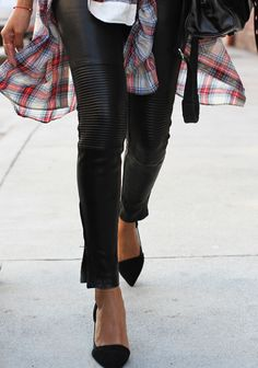 Leather Pants and plaid  | Street style inspiration