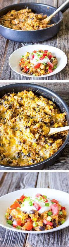 One Pot Wonder Chicken Enchilada Bowls