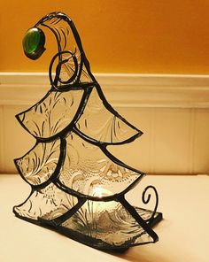 This stained glass Christmas tree votive measures 6 inches high, 4 inches wide and 3 inches deep. Made with a pretty textured clear glass to give off a nice reflection when lit. perfect to sit just about anywhere in your home. Stained Glass Light, Custom Stained Glass, Stained Glass Projects, Stained Glass Patterns, Stained Glass Windows, Christmas Mosaics, Stained Glass Christmas, Glass Christmas Ornaments, Leaded Glass