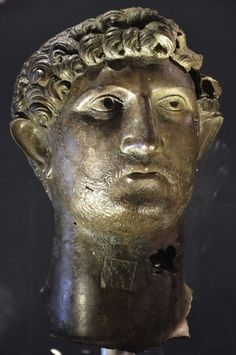 Bronze head of Hadrian, recovered from the River Thames in London in 1834, on loan from the British Museum. Hadrian: An Emperor Cast in Bronze, Israel Museum Rio Tamesis, Roman History, River Thames, British Museum, Byzantine, Jerusalem, African Art, Emperor, Archaeology