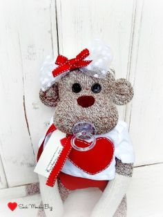Baby Shower Sock Monkey Doll Custom Baby Girl by SockMonkeyBizz, $49.50