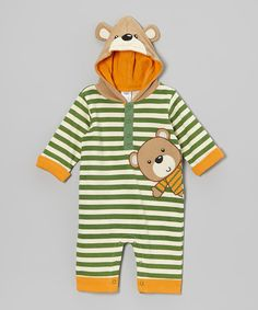 Look at this #zulilyfind! Green Stripe Bear Hooded Playsuit - Infant by Baby Essentials #zulilyfinds