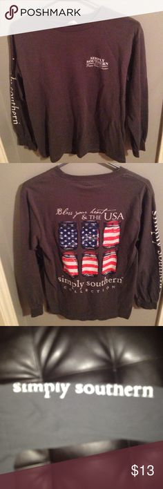 Simply southern shirt Very cute simply southern shirt worn less than five times on one side of the sleeve it says simply southern as seen in photos Tops Tees - Long Sleeve