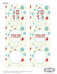 new years printable party circles - kiss me at midnight