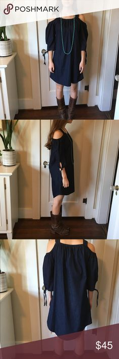 Max Jeans denim dress Max Jeans dark denim dress with open shoulders. Max Jeans Dresses