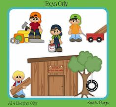 Boys Only ~ Brothers Fort Kids CLubhouse Kids Children Treehouse Clipart ~ Clip Art ~ Digital