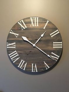 Large Gray Rustic Wood Clock – Pallet Clock – Reclaimed Wood Clock – Large Wall Clock – Unique Wall Clock – Farmhouse Clock Large Gray Rustic Wood Clock Pallet Clock by OnTimeHome on Etsy Farmhouse Clocks, Rustic Wall Clocks, Kitchen Wall Clocks, Unique Wall Clocks, Wood Clocks, Rustic Farmhouse, Large Wood Clock, Large Wall Clocks, Antique Clocks
