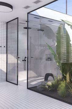 A must see urban contemporary bathroom with lots of greens