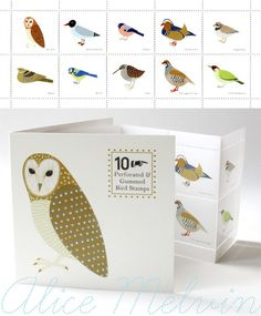 Love these by Alice Melvin - birds on notecards.