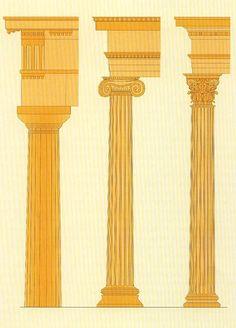 Ordenes griegos. De izquierda a derecha: dórico, jónico y corintio
