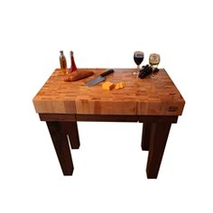 x x Michigan Maple Gathering Block with Walnut Base, handcrafted by McClureTables Walnut Butcher Block, Butcher Block Kitchen, Kitchen Island Cart, Kitchen Islands, Made In America, Diy Kitchen, Furniture Making, Chefs, Natural Wood