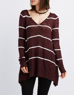 Striped Pullover Sweater   Charlotte Russe