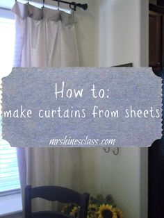Sewing Curtains diy curtains, home decor, window treatment, french country - Bed sheets make an affordable option for DIY curtains. Hines' Class for the simple tutorial on h ow to turn sheets into curtains. Sheet Curtains, No Sew Curtains, How To Make Curtains, Rod Pocket Curtains, Balcony Curtains, Window Coverings, Window Treatments, Do It Yourself Home, In Kindergarten
