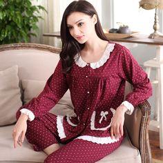 봄 및 가을 여성 파자마 세트 니트 코튼 레이스 전체 소매 수면 라운지 파자마 라운드 넥 잠옷 캐주얼 폴카 도트 Pijama-에서New 2016 Women Pajama Set 100% Knitted Cotton Lace Full Sleeve Pyjamas Sleepwear Casual Plaid Round Neck Sleep Lounge Ho부터 파자마 세트 의 Aliexpress.com | Alibaba 그룹