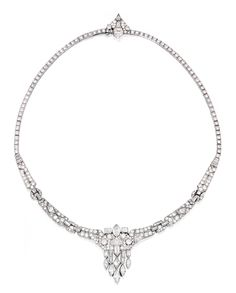 PLATINUM AND DIAMOND NECKLACE The necklace suspending a fringe set with numerous round and single-cut diamonds weighing approximately 10.35 carats, accented by half-moon, trapeze and marquise-shaped diamonds weighing approximately 3.65 carats, further set with kite, shield and square-cut diamonds weighing approximately 1.80 carats, length 16 inches, one diamond missing; circa 1930.