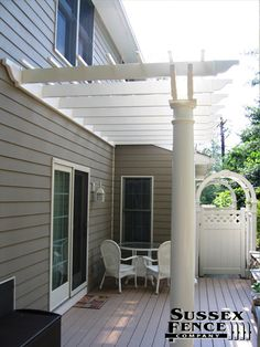 Custom PVC, Aluminum, Chain Links Fences installed by Sussex Fence Co. in Sussex County Delaware Vinyl Picket Fence, Vinyl Pergola, Fencing Companies, Chain Link Fence, Pvc Vinyl, Arbors, Fence Ideas, Yard, Outdoor Structures