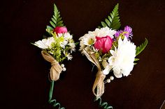 Wildflower Bout and Corsage; boutonniere; matching set; burlap; bridal party http://lovesfloral.carbonmade.com/