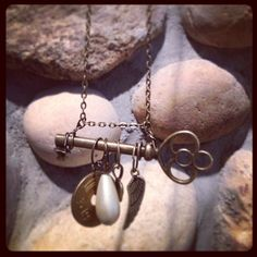 Skeleton key necklace with charms