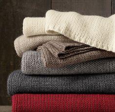 Italian Wool & Alpaca Ribbed Knit Throw, Restoration Hardware