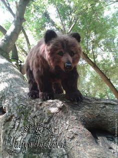 Медведь. - коричневый,мишка,медведь,мишутка,войлочная игрушка,сталистый каркас