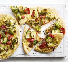 Ciabatta bread mix is the perfect cheat to get quick homemade pizza dough – top with leftover Brussels sprouts, blue cheese and sage Gourmet Recipes, Appetizer Recipes, Vegetarian Recipes, Appetizers, Bread Mix, British Bake Off, Savoury Baking, Leftovers Recipes, Perfect Food