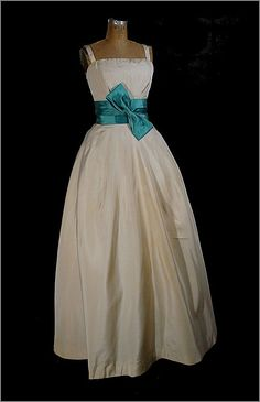 Vintage 1950s Silk Strapless Evening Gown Couture Quality Small - On Sale on Ruby Lane