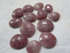 Natural Rhodonite Flat Rose Cut Polkis Uneven shapes by 8gemsinc, $45.00