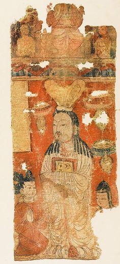 Türk Uygur Mani Dini Rahipleri. Saçlar Türk usulü uzun ve örgülüdür. Figürün Sağ tarafında Uygur harfleri ile yazılmış bir yazı dikkat çeker.