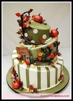 Topsy Turvy Fall Wedding Cake - Autumn Wedding Cake by Pink Cake Box
