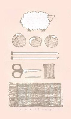 "Illustration entitled ""Knitting Essentials"" by Kati Lacker"