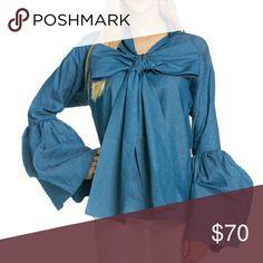 Blouse Long sleeve denim bow blouse tov Tops Blouses