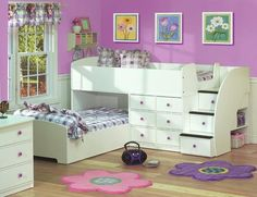 Creative Bedroom Ideas for Teen's Room : Bed For Two With Stairs Bedroom Decorating Ideas For Creative Kids Rooms