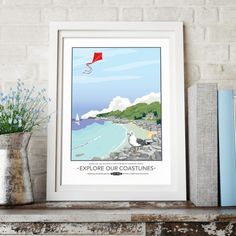 Explore our Coastlines Travel print by Tabitha Mary.   £16.00–£105.00  Inspired by the old railway posters this print captures the British coastline with its threatening clouds on the horizon, country cottage and rocky terrain. A great print for any seaside or nautical themed room. I am inspired by the old railway posters, my prints are now available as digital prints, signed Giclee prints both with an option of framing.