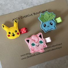 Pokémon hair clips/ pikachu, jigglypuff, oddish hair clips/ embroidered felt Pokémon hair clips by AbisCreativeBowtique on Etsy https://www.etsy.com/listing/504517917/pokemon-hair-clips-pikachu-jigglypuff