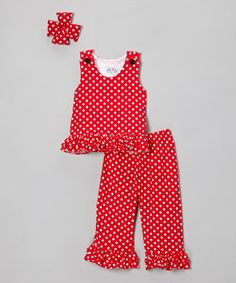 Love this Red Corduroy Sleeveless Top Set - Infant, Toddler & Girls by Molly Pop Inc. on #zulily! #zulilyfinds