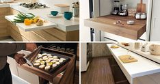 Pull-out kitchen counters are a great way to add additional food prep area in your kitchen as you need it. Here are 10 examples of pull-out counters. Kitchen Pulls, Prep Kitchen, Kitchen Sets, Kitchen Cabinet Styles, Kitchen Cabinets, Kitchen Counters, Small Kitchen Layouts, Hidden Kitchen, Compact Kitchen