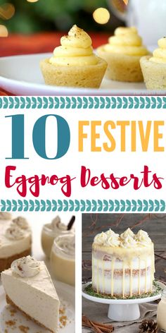 10 Delicious Eggnog Desserts - click over to Rose Bakes to find an Eggnog Dessert perfect for your holiday gathering! Perfect for Thanksgiving or Christmas! Eggnog Cake, Eggnog Recipe, Christmas Desserts, Christmas Baking, Christmas Brunch, Christmas Foods, Holiday Baking, Christmas Stuff, Christmas Cookies