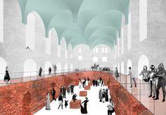 Историко-культурный комплекс в Калининграде. Архитектурное бюро «Студия 44» (Россия) Arcade Architecture, Architecture Collage, Architecture Visualization, Architecture Graphics, Architecture Drawings, Gothic Architecture, Contemporary Architecture, Landscape Architecture, Landscape Design