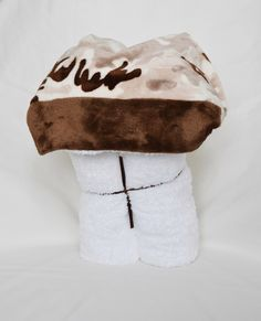 A personal favorite from my Etsy shop https://www.etsy.com/listing/199780962/brown-desert-camo-minky-hooded-towel