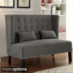 Cream Upholstered Nail Head Trim Banquette Bench - Overstock Shopping - Great Deals on Benches